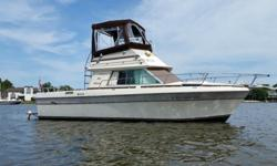 I'll respond ONLY through phone so please leave me your number. Thanks!Very well cared for. Big and roomy flybridge cruiser powered by a pair of Mercruiser 305 V-8 220 hp. engines.. Shallow draft prop pocket design. Lots of storage. Sleeps 4-5. Owned for