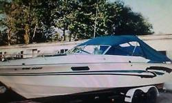 Teal and White Excellent Condition Comes With: 80 hrs.on New Mercruiser Magnum 454.Motor 370hp with /98 Gen II Drive. Mercathode protection, Eng. Compartment Halon, Fire extinguisher Mirage SST Hi Perf Prop w/Spare Aluminum D/P Batt.w/Charger New Interior