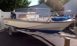 Boston Whaler 18 Outrage Center Console. Hull is solid and in good shape. Has a few small dings and scratches and some small spider cracks in the gelcoat, just cosmetic. The hull is in nice condition and floats like a cork! Nice big open cockpit with wide