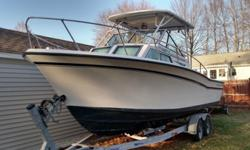 1984 Grady White 255 Sailfish beam powered boat with 2003 Suzuki twin motors 140 HP. MOTORS HAVE BEEN COMPLETELY SERVICED NEW PLUGS , T STATS , FUEL FILTERS , WATER PUMPS & LOWER FLUID!NEW FUEL INJECTION SYSTEM HARD TOP W/ FULL CANVAS SLEEPS 3-4 SALT &