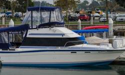 Type of Boat: Power BoatYear: 1985Make: BaylinerModel: Command BridgeLength: 28Hours: 260Fuel Capacity: 120Fuel Type: GasEngine Model: 260hp 350 ChevySleeps how many: 6Number of A/C Units: NoneMax Speed (Boat): 20Cruising Speed (Boat): 17Inboard /