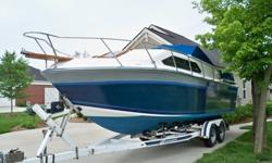EXCELENT CONDITION 1985 CHAPARRAL CABIN CRUISER. THIS LOW HOUR BOAT ONLY HAS 332 ACTUAL HOURS AND IS IN EXCELLENT CONDITION INSIDE AND OUT!!! I PUT ON BRAND NEW TRAILER TIRES AND RIMS, GREASED THE WHEEL BEARINGS, REWIRED THE LIGHTS, AND PAINTED ON THE NEW