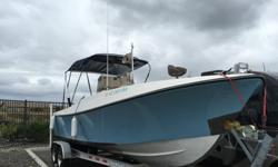 Aquasport 24.6 with Yamaha 225 excel and 2013 Venture trailer with brakes.This thing is awesome. This boat is turn key and ready to fish. We caught a lot of tuna and rockfish. Boat will go 30+ mph and is solid. only needs whatever electronics you want to