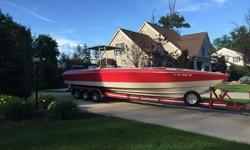 THIS BOAT RUNS FAST AND HANDLES GREAT. MAKE NO MISTAKE, THIS IS A BIG BOY BOAT THAT MOVES!!HAS BEEN A FANTASTIC FISHING BOAT AS WELL. NEW ROD HOLDERS, FRESH WATER WELLS AND LOTS OF ROOM TO MOVE AROUND WHILE PULLING IN THE LIMIT.When you contact me please