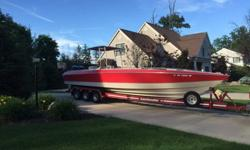I'LL RESPOND ONLY THROUGH PHONE SO PLEASE LEAVE ME YOUR NUMBER. THANKS! EXCELLENT CONDITION, MOTORS RUN GREAT, USED AS FRESHWATER BOAT ON LAKE ERIE. RUNS FAST AND HANDLES GREAT. HAS BEEN A FANTASTIC FISHING BOAT AS WELL. TRI AXLE CUSTOM TRAILER IN GREAT