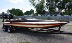 THIS IS A 1987 21' DAYTONA ELIMINATOR WITH TWIN WORKED 200 MERCURY MOTORS THIS BOAT FLIES AND ITS IN GREAT SHAPE FOR A 1987 GREAT COLORS, BOAT RUNS AND DRIVES GREAT.. TWIN GAS TANKS STEREO SYSTEM TWIN BATTERIES TWIN KEYS... BOAT IS IN GREAT SHAPE NO