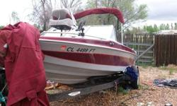 Great boat..486 actual hours. Bought used in 2004 Last time in water 2006. Been covered and stored (motor fogged). Has 4 rod holders. Open bow with padded seating that converts to fishing deck. Pulls 2 skiers. Two fish finders, front and rear. 24v