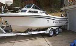 1987 Grady White Seafarer outfitted as the ultimate fishing machine.She is powered by a Mercruiser 470 I/O, with the updated alternator conversion installed. This engine trolls quietly at 700 rpm and rolls up smoothly through the entire acceleration
