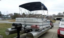 """SEAT BOTTOMS ARE PLASTIC. IT IS GOOD AND SOLID. HAS A NEW BIMINI TOP, HAS A FOLD UP SWIM LADDER MOUNTED ON FRONT. THE LIGHTS WORK. THE DECK IS 16' PONTOONS ARE 19'5""""1987 RIVIERA CRUISER PONTOON BOAT. WITH AN 8 HP MERCURY MOTOR. THE DECK , CARPET. AND"""
