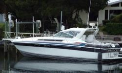 This 1987 Wellcraft 3200 St Tropez features 2003 Twin Fresh Water Cooled 350 Mercruiser MPI Horizon motors with only 219 Hours. She has a Kohler Generator and Marine A/C to keep you comfortable in her very spacious cabin. Full Galley with Microwave, Two