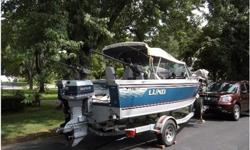 1988 Lund TYEE 5.5,'88 LUND TYEE 5.5 18FT: well maintained: walk-thru windshield, travel cover, 90HP Evinrude w/VRO, EZ loader trailer (new tires) w/power winch, 2 Canon Marlin Downriggers w/balls & 2 downrigger rods, Eagle Magna fish finder, Ray Jeff