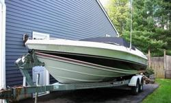 Super clean 1989 Cobalt Condurre 223 with a 7.4 litre V8 330hp mercruiser coupled to the Bravo I outdrive with a 23 pitch Mirage SS Prop. Top end on the boat is 60 mph and it will cruise all day at 50mph. This boat has been been run in Fresh water since