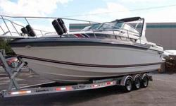 The engines are freshly remanufactured 330hp Mercruiser 7.4L (454)'s matched to almost new Mercruiser Bravo 1 outdrives with Stainless Steel Props. The engines have only been test run at this point and have a 1 year warranty on the rebuilds. This boat is