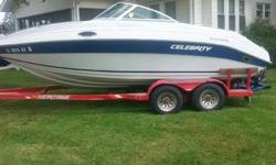 1990 19' Celebrity-Cuddy5.0 Liter Chevy, porta potty, 16 channel ship to shore radio, Kenwood AM/FM CD player, full camper top, no tears or rips in interior, only has 311.8 hours on it.Very clean!! $6500.00If interested call 309-428-6606(Have more pics