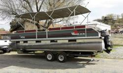 Go ahead and trim the engine way up. This will bring the bow high out of the water and put her in her most efficient running angle.Sun Tracker Party Barge 24 XP3With the XP3 performance package, a center tube is added to the mix, splash rails at the top