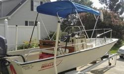 1991 Boston Whaler Montauk. I am the first owner. The boat has always been stored under cover. Never bottom painted. The interior is in excellent shape and does not show the normal stress/spider cracks as often seen in these boats. The hull does have some