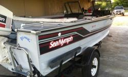 1991 Sea Nymph Model SS175 RE1 with a newly rebuilt 1990 JOHNSON outboard (end of last season)70 hp motor with only 50 hours run time. It has a new battery for the Trolling motor as of this season. It comes with a 1991 Yacht Club boat trailer. It has a