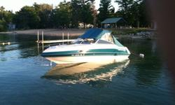 Very well maintained boat. We are the second owners of this boat. When we bought it in 2012 it was estimated at 400 hours. We would estimate it is now at 600. The plugs and wires replaced last summer, new ignition coil this year along with new electronic