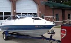1992 Bayliner Capri 19' cuddy cabin powered by a great running 4.3 Mercruiser engine system. Solid floor, deck seats and cabin seats are all in good condition. FM stereo, CD player, molded in swim platform; the trailer is in good condition and included.
