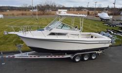 1992 GRADY WHITE SAILFISH 25 SPORT BRIDGE BOAT AND MOTORS PACKAGE. THIS 25FT 4 INCH FISHING BOAT IS POWERED BY THE ORIGINAL TWIN YAMAHA 200HP OUTBOARD MOTORS MOUNTED ON A GIL BRACKET. THE BOAT IS NOT BEING SOLD WITH THE TRAILER IN THE PICUTRES, BUT CAN BE