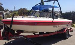 Very Good Condition. Open bow with walk thru windshield 20.5 ft. competition ski boat. 265 HP 350 cu in Mercury inboard. Malibu custom single axle trailer with, new brakes, fresh tires including a spare tire. Depth sounder, Sony CD/iPod/AM/FM stereo 4 new