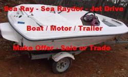 1993 Sea Ray / Sea Rayder - 90 hp Jet Drive Motor. ? Trailer has never been in the water. This is a solid boat but needs repairs. The stator [charger/alternator] on the motor is bad, console switches are missing, trailer tail lamp lenses missing, engine