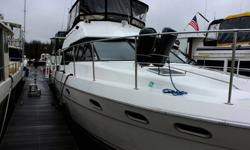 4388 Motor Yacht with Dual Helm, Twin 310hp Hino Diesel Engines, 12.5 kw Westerbeke Genartor, 2 Staterooms and 2 Heads. The Captain Quarters are located all the way forward with a Queen Size Bed, Reading Lights, lots of windows with shades and curtains,