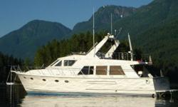Quality built and well maintained this is a GREAT PILOTHOUSE. With upgraded counter tops, carpet and salon upholstery this vessel shows quite well. Featuring 3 staterooms, 2 complete heads with separate shower stalls each, she features all the comforts of