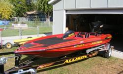 Water version of the Red Corvette. Fast and Gorgeous!!! This will have all the other boaters taking a second look!!! 1994 Allison racing / high performance bass boat is waiting for a new owner. This boat, motor and trailer have been gone over by a boat
