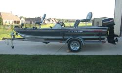 1994 Lund 1790 Pro Bass aluminum boat with 1995 Evinrude 88hp 2 stroke engine, tilt/trim in 3 locations, fish finder at console, cd player at console does not work, 12v/24v Evinrude foot operated trolling motor with 1 battery, livewell, single axle