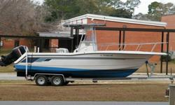 Excellent condition for a 20 yr old boat. 2nd owner. Boat runs perfectly, has twin 1994 Mercury Black Max offshore series 225hp engines, 200 gal. fuel tank--long range for good fishing, SeaStar hydraulic steering, trim tabs, live bait well, fish boxes,