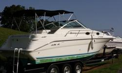 ,.,.,1994 Sea Ray Sundancer Cabin Cruiser has impeccable interior with the outside seats showing some wear. Paint on hull is fading.Combination shower/head. Shore power or DC power.Halo Fire System.Cockpit cover. Full enclosure with windows. Double Bimini