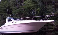 30' searay sundancer cruiser,boat in good condition, engines are 5.7 250hp, twin merc i/o,Engines run great. boat very efficient on plane, Large cockpit area, great for fishing, plenty of rod holders, Brand new gps/fish finder and vhf w/gps & ais, all