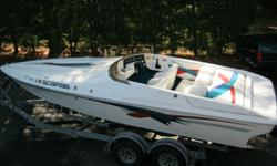 1994 Wellcraft Scarab 22ft. Powered by an Alpha drive 350 magnum Mercruiser this boat is capable of running speeds of approx. 60MPH. Very low fresh water only usage, no bottom paint. Seasonal maintenance has always been done since new, we have owned the