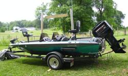 1995 CHAMPION BASS BOAT, DUAL CONSOLE, MERCURY 150 HP 2.5L XRI, 2001 CHAMPION TRAILER, MOTOR GUIDE TROLLING MOTOR, HUMMINGBIRD VISION WITH SIDEFINDER AND DASH FLASHER UNIT AT CONSOLE, BOTTOM LINE FINDER UP FRONT. HAS STAINLESS PROP AND FOLDING SWIM LADDER