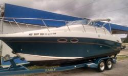 This is a nice boat that just needs a little TLC. The vinyl banners are sun dried on the side. The seats are in good condition. I do not have the aft cabin cushions.7.4L V8 Engine with only 388hrs!!!!!!!!!!!!!!!!!!!Bravo 3 outdrive with twin