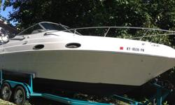 Beautiful Vista 258 with only 400 hours on original 5.8L OMC Cobra! This cruiser starts first turn, rides like a dream, and has a matching Four Winns tandem trailer. Vinyl, fabric, and carpet is all in fantastic shape. I've put a lot of new stuff on this