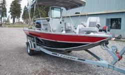 1995 JETCRAFT ALUMNUN BOAT 18 FOOT LONG. 80 HORSE POWER JOHNSON OUTBOARD WITH JET PUMP.8 HORSE POWER TROLING JOHNSON MOTOR.CANOPY, RADIO, CASSETTE TAPE.CENTER CONSOLE WINDSHIELD.THIS JET RIVER BOAT AT SEA LEVEL GO 38 TO 45 MP, 8 HP TROLLING MOTOR