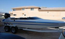 You are looking at a 1995 Lavey Craft Sebring 21' (tunnel hull) with a 2.5 liter Mercury (2 stroke) outboard, fuel injected with 260 hp. Brand new battery and water pump impeller. This boat will do 75+ mph. The tunnel hull creates lift which causes less