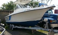 1995 25' Proline 2510 with 2004 twin Mercury Outboards with only 173 hours. Motors run like new. Boat is a walk around model with a 9'10 beam. It has a large cockpit and wide walk around. Comes with full enclosure and trailer. Boat is in great shape.