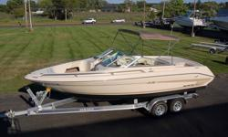 1995 SEA RAY 220 SIGNATURE SELECT BOWRIDER BOAT AND TRAILER PACKAGE. THIS 22FT BOAT IS POWERED BY A MERCRUISER 7.4L 300HP INBOARD/OUTBOARD MOTOR W/ BRAVO ONE DRIVE AND STAINLESS STEEL PROP WITH ONLY 244 HOURS OF USE. THIS COMPLETE PACKAGE INCLUDES A BRAND