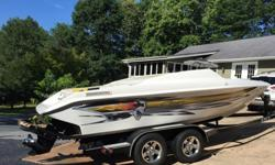 1996 Baja Outlaw speed boat. 350 CID alpha I drive. Propped just reworked and polished. New paint 2015 Baja graphics. Mechanic owned and runs like a dream and lake ready today. Fresh water and garage kept. AM/FM/CD sound system with flip up screen with