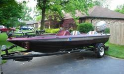 """1996 Champion 190 Tournament SC Bass Boat, equipped with a 150 HP Mariner EFI engine, hotfoot, Bass&Jack hydraulic jackplate, an 82 lb. thrust 48"""" Minn Kota trolling motor, Lowrance X510C Fish Finder at the console, flasher depth finder at the console and"""