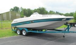 """1996 Four Winns 21.4' """"Fun Ship"""" Candia Deck Boat with trailerVolvo Penta Cobra SX Duo Prop 5.0 L EFI, Bow fill-in Cushions, Bow Table, Double Bimini, Cockpit Cover, Live Well, Water Tank, Porta Potty, Four Winns Tandem Trailer, 8 foot Beam, 13 person"""