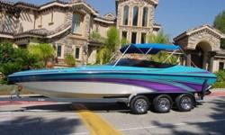 1996 Nordic Scandia 25ft open bow, mid-cabin cruiser and 2003 Ellis triple axle trailer with spare tire. This boat is equiped with an onboard automatic engine compartment fire extinguishing system, hydraulic trim tabs and engine cover, Dual 25 gallon