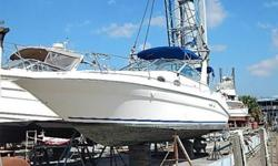 This 1996 29.3' Sea Ray 290 Sundancer Express Cruiser was partially submerged when clamp on shift bellows broke. Water reportedly rose to cabin headliner. Hull in good condition with chalky gelcoat. No hull breach sighted. Not all equipment could be
