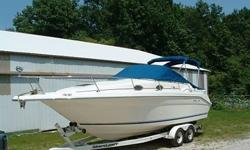 Here is a beautiful One Owner 1996 Sea Ray Sundancer 270 with a gently used 454 cu. in. Bravo II motor. This motor only has 300 hours on it. This boat has always been kept inside on the trailer. Boat comes with two covers. A full road cover, and cockpit