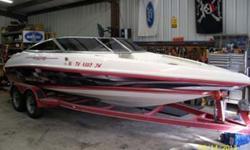Type of Boat: Power BoatYear: 1997Make: CaravelleModel: InterceptorLength: 21Hours: 145Fuel Type: GasEngine Model: 320hp 6.2 Ltr. MercInboard / Outboard (Boat): Single I/OTotal Horse Power: 320Beam (Boat): 8Hull Material (Boat): FiberglassTrailer: Tandem