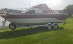 Only has 90 Hours!!! 22 foot, 4.3 V6, 15 horse kicker for trolling with steering wheel control, 2 down riggers (each $500 a piece) has downstairs place to sleep and bathroom. sink, everything you could need in a boat for such a LOW price... when we say