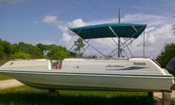 GREAT, MOTOR WAS JUST SERVICED,WITH NEW PLUGS, NEW WATER IMPELLAR PUMP, NEW LOWER UNIT FLUID, NEW STEERING CABLE, NEW THROTTLE CABLE, NEW SHIFTER CABLE, NEW BATTERY. ALL NEW UPHOLSTERY, NEW SEATS, NEW CUSHIONS, NEW CAPTAINS CHAIR, NEW BIMINI. BOAT IS IN